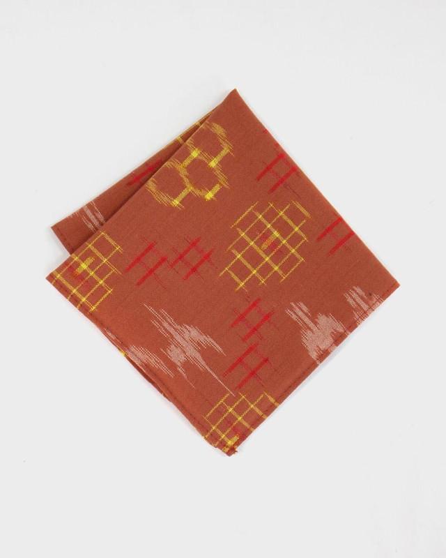 Pocket Square, Kimono Brown Kasuri