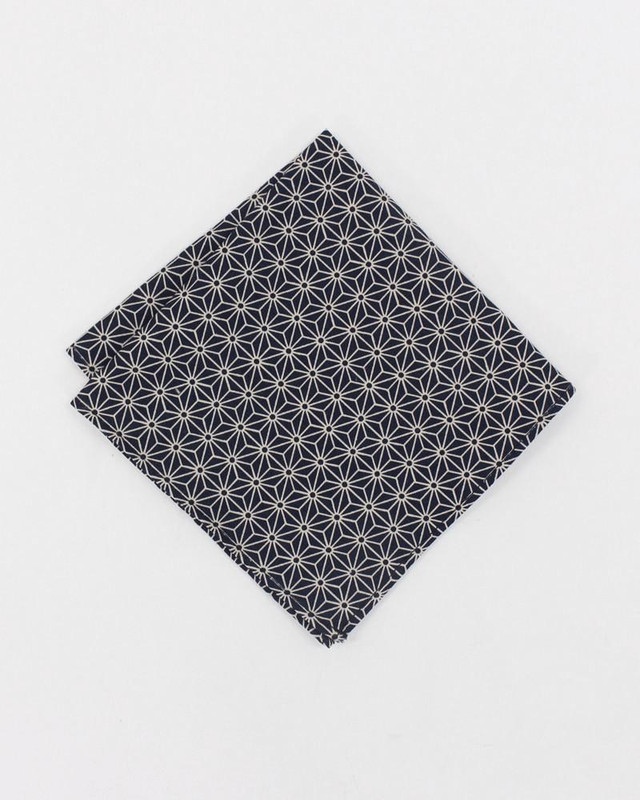 Pocket Square, Black Asanoha