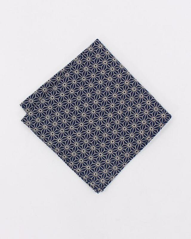 Pocket Square, Indigo Asanoha