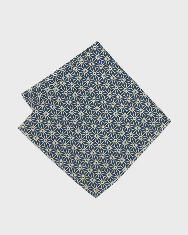 Pocket Square, Teal Asanoha
