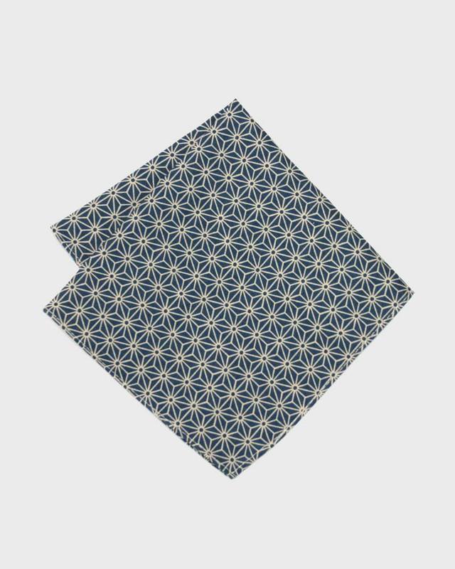 Pocket Square, Teal Asanoha