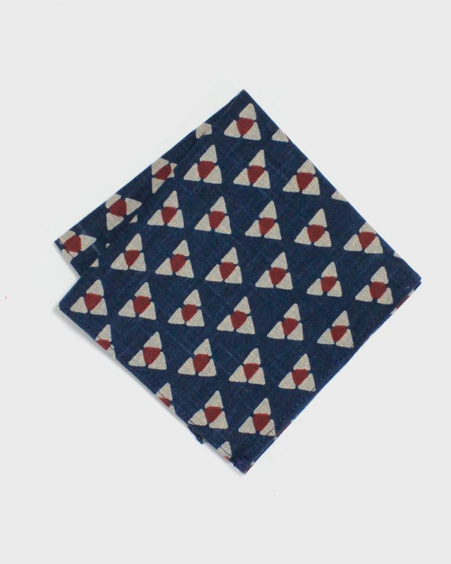 Pocket Square, Indigo Sankaku