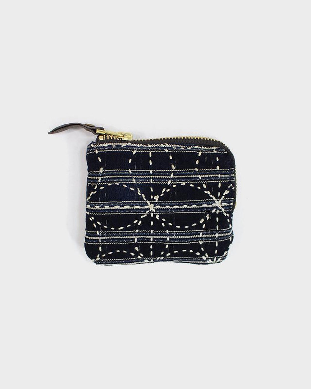 Zipper Wallet, Vintage Sashiko Blue and White Shima