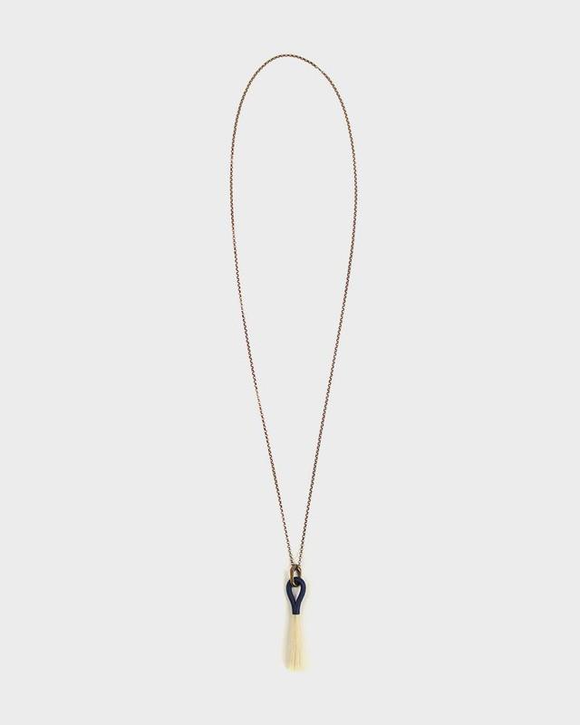 Boet Necklace, Horse Blonde and Indigo