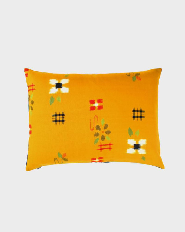 Pillow Yellow Floral Kasuri