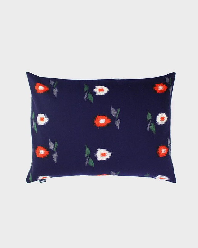 Pillow, Blue with Red and White Kasuri Flowers