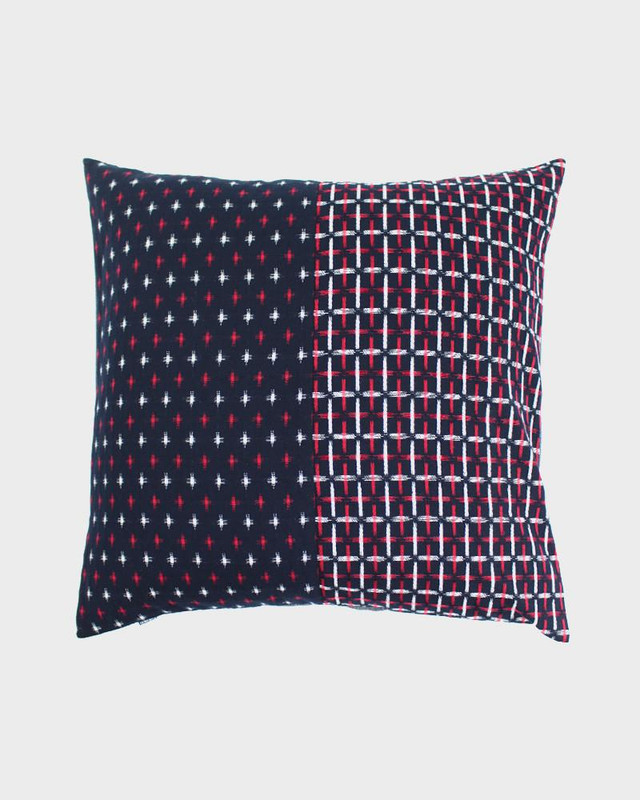 Pillow, Split Red and White Kasuri-Ori Cross