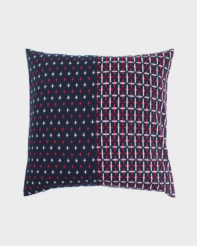 Pillow, Split Red and White Kasuri-Ori Cross
