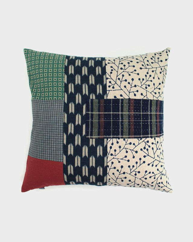 Patchwork Pillow, Buds and Plaid