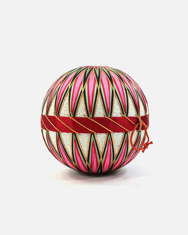 Vintage Temari Ball, Medium Pink