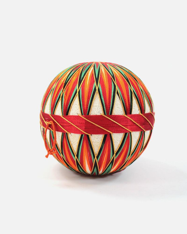 Vintage Temari Ball, Medium Orange