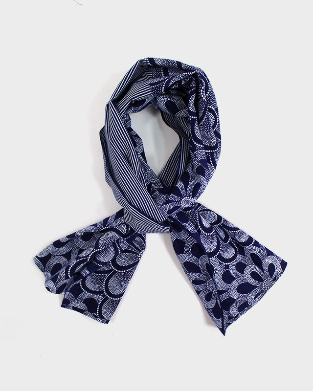 Yukata Scarf, Dotted Floral and Stripes