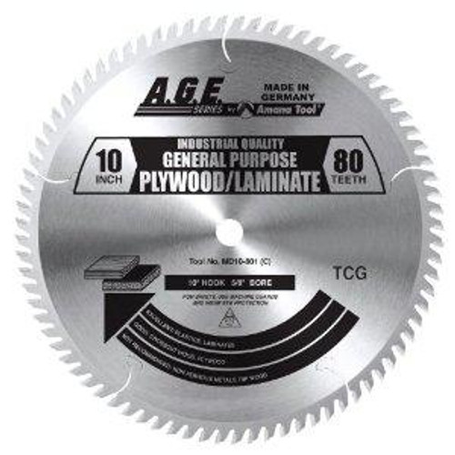"Amana MD10-801C 10"" x 80t TCG Plywood/Laminate Blade 5/8 Bore"