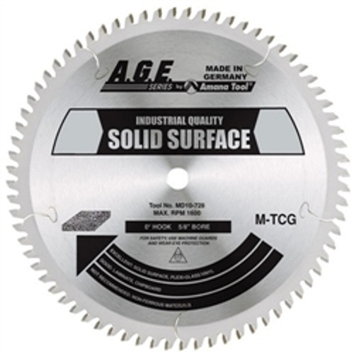 """Amana MD12-848C 12"""" x 84t M-TCG Solid Surface Blade 1"""" Bore"""