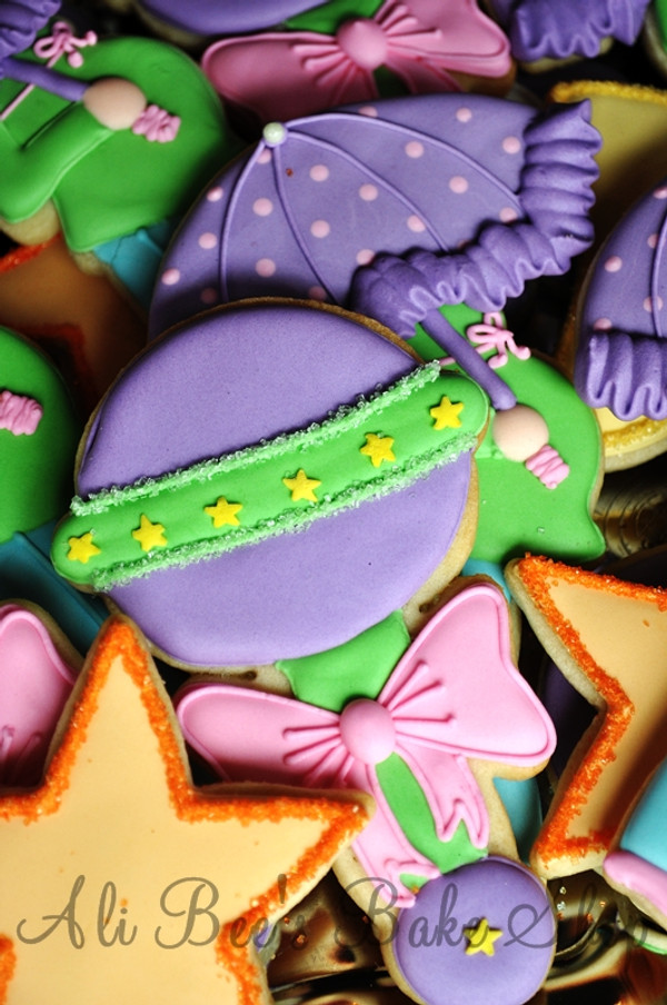 Baby rattle cookies done by Ali Bee's Bake Shop