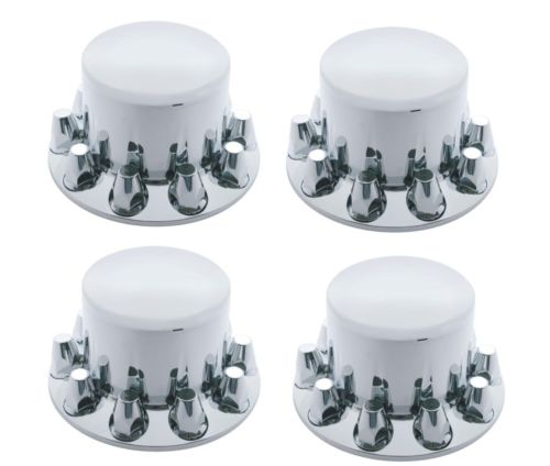 Set of 4 - Chrome Semi Truck Rear Axle Hub & Lug Nut Covers 33mm Lug Nuts