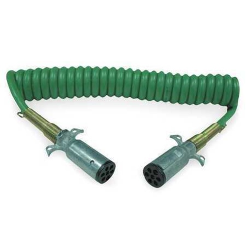 Electric Cable ABS Green 7-way power for Tractor Trailers, Big Rig Trucks, 15ft