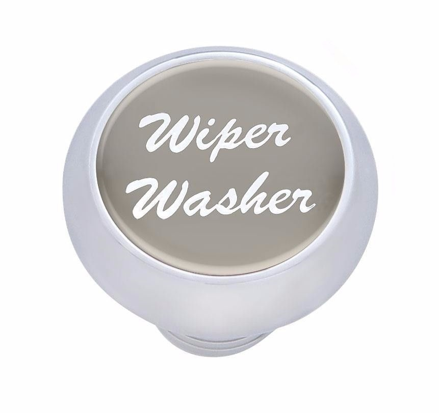 Small Deluxe Wiper-Washer Dash Knob - (Silver) Peterbilt  Freightliner Kenworth