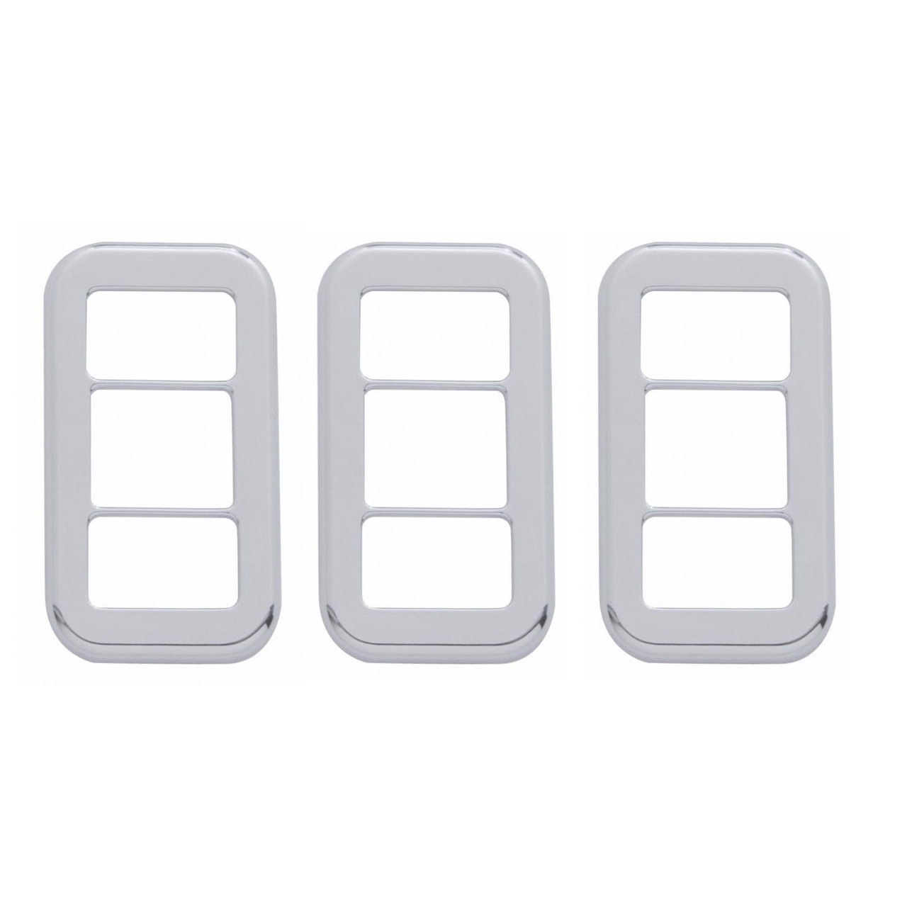 Rocker Switch Trim Set w/ 3 Openings (3 PCS) Chrome Plastic for Freightliner