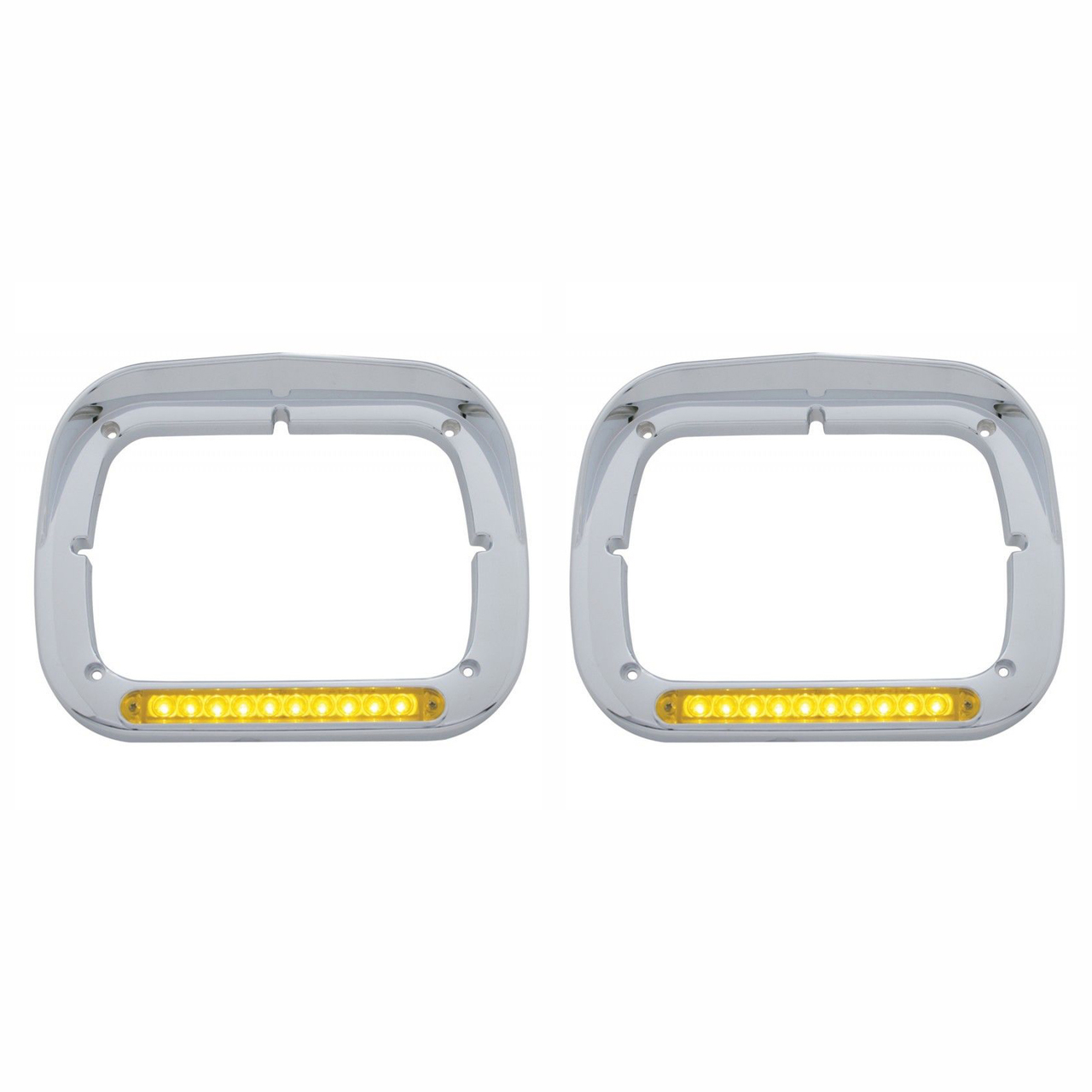 10 Amber LED Rectangular‰ÛÜ Headlight Bezel with Visor for Semi Trucks, Pair