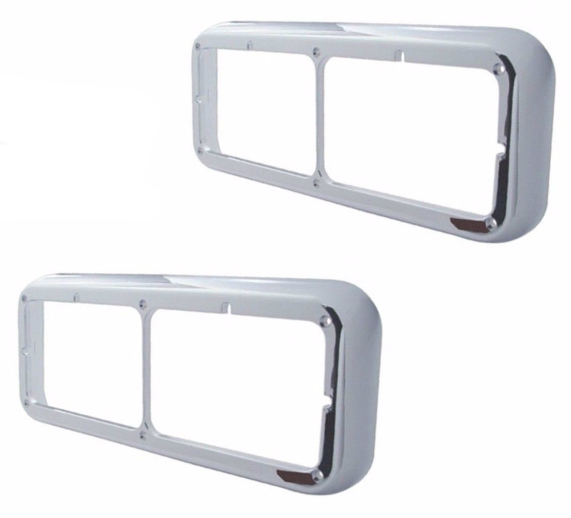 Rectangular Dual Headlight Bezels (PAIR) Peterbilt Freightliner Kenworth