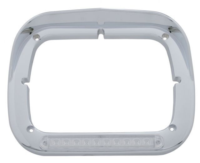 10 Amber LED Rectangular Headlight Bezel With Visor Semi Truck, Pair