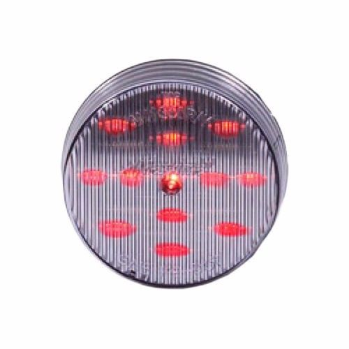 "Maxxima 2-1/2"" Round Clearance Side Marker light 13 LED Red Clear Lens"
