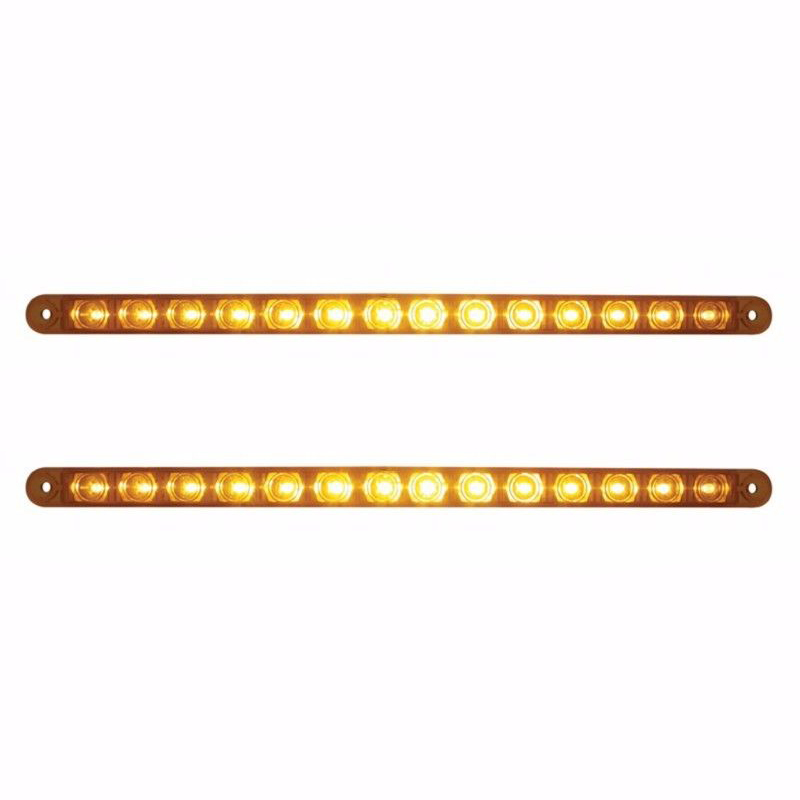 "12"" Amber 14 LED Truck Trailer RV Brake Stop Turn Tail Lights, Amber LED with Amber Lens (Pair)"
