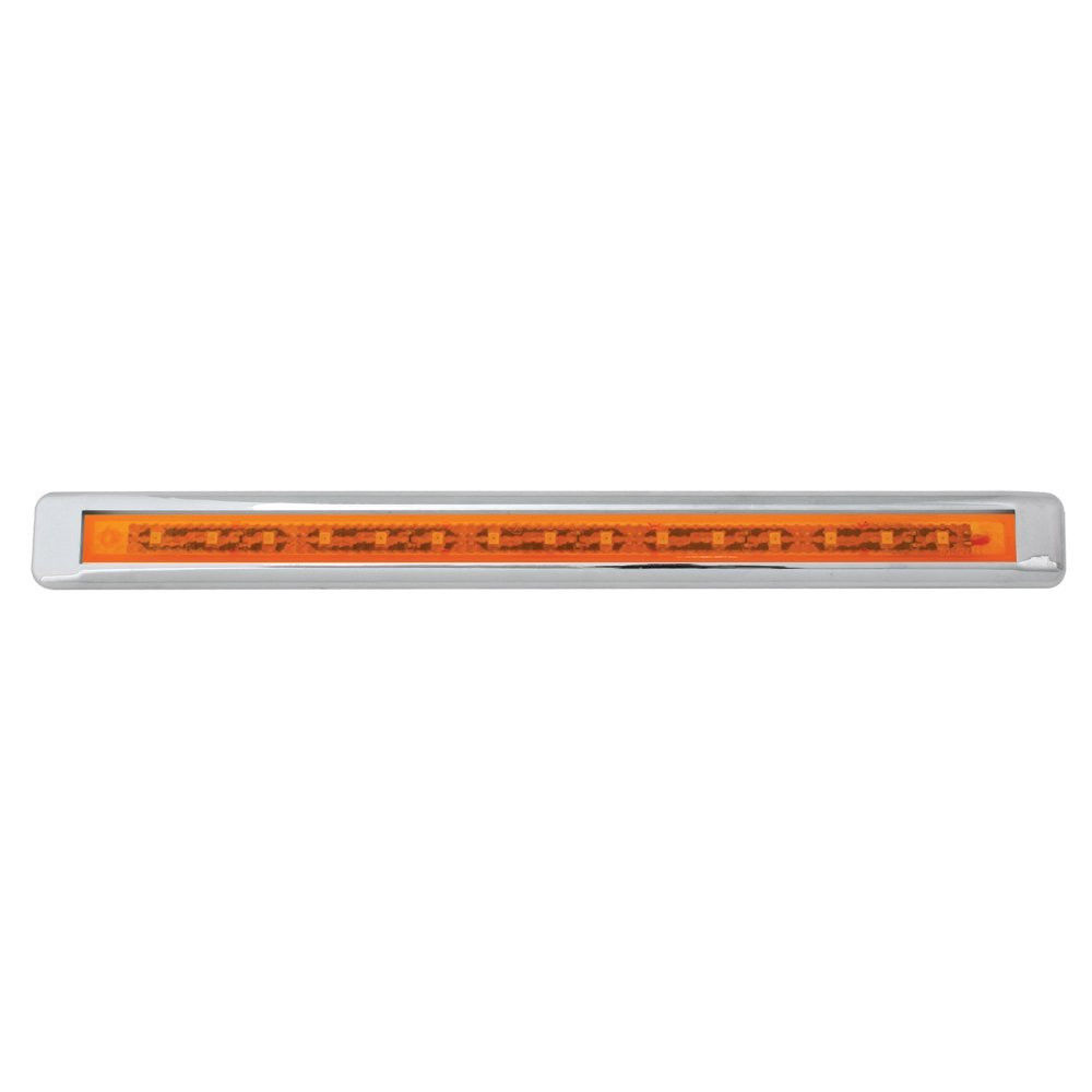 "12"" Ultra Thin LED Marker/Clearance Light Bar With Chrome Bezel, Amber LED  with Amber Lens"