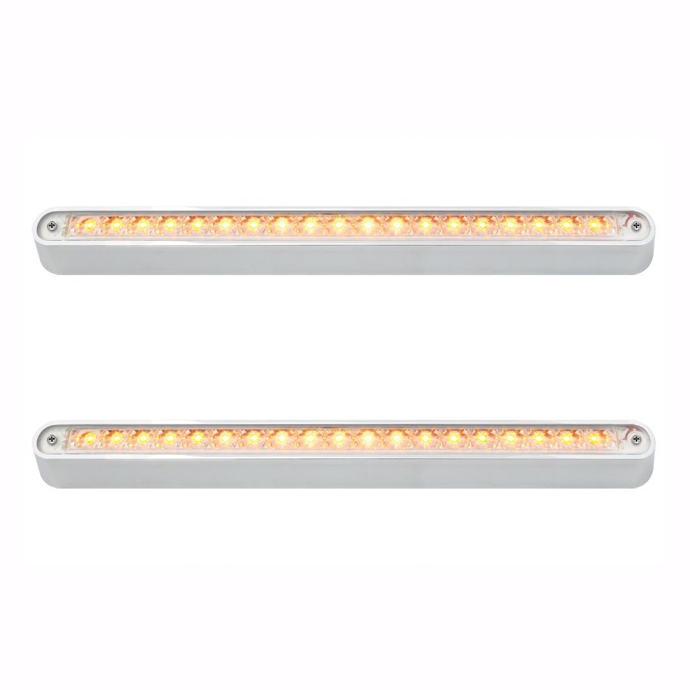 "19 LED 12"" Flush Mount LED Light Bar with Chrome Base, Amber LED with Clear Lens, Pair"
