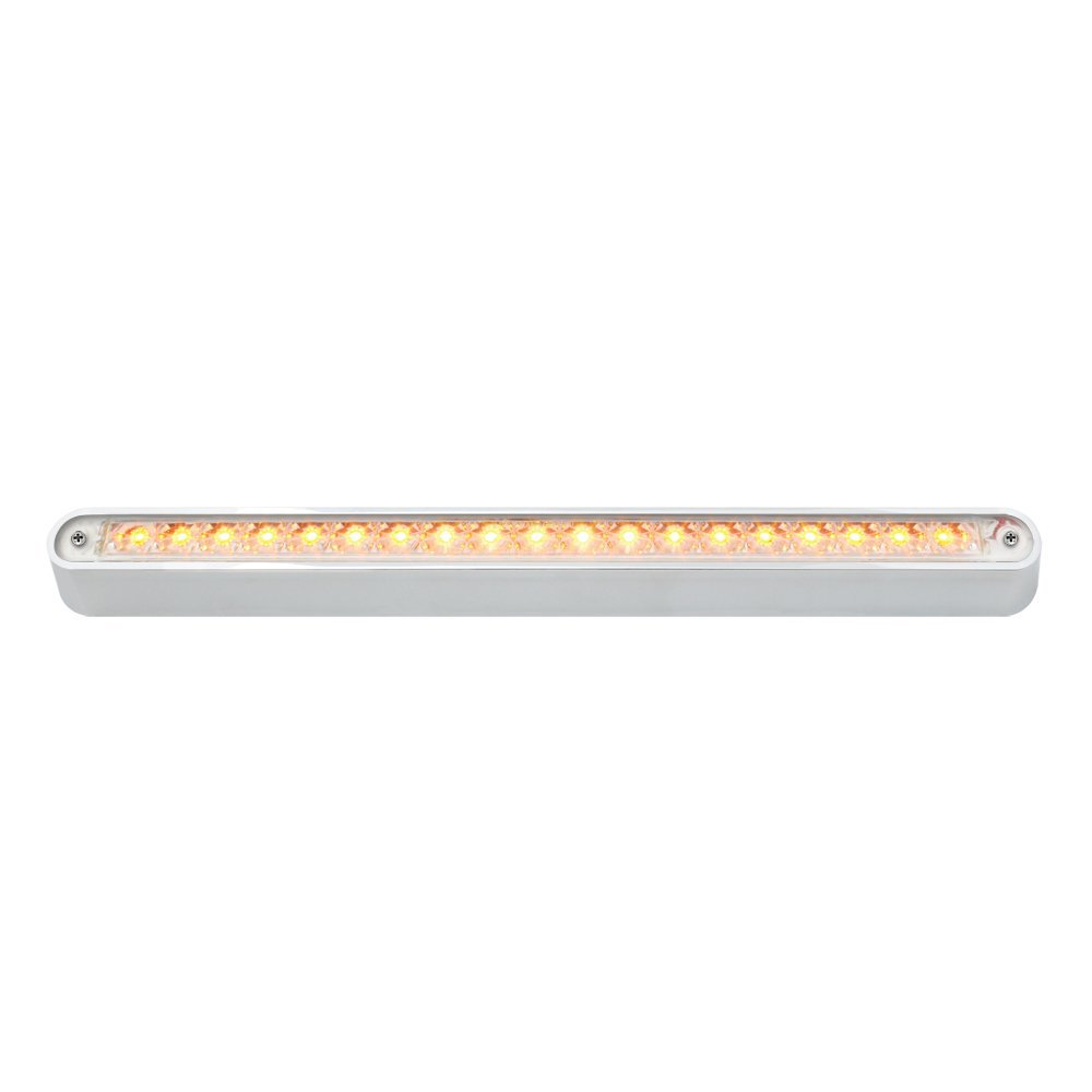 "12"" Flush Mount LED Light Bar with Chrome Base -19 LED(Amber LED with Clear Lens)"