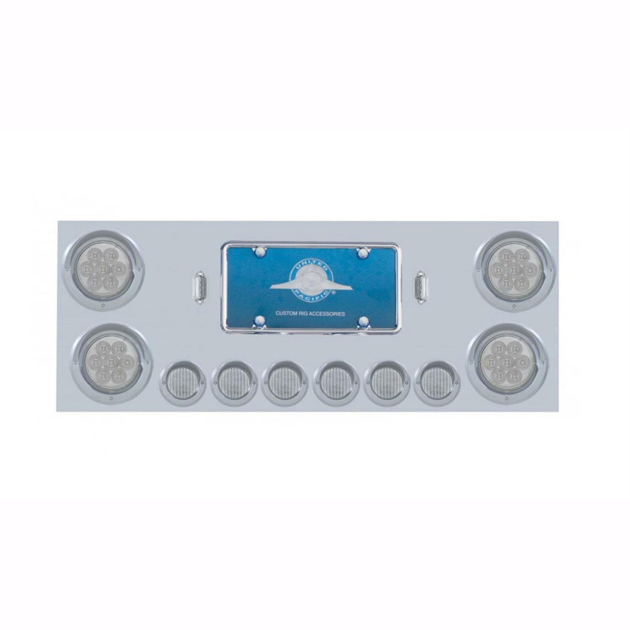 Rear Center Panel Stainless Steel with Red LED Lights (Clear Lens) Semi Trucks