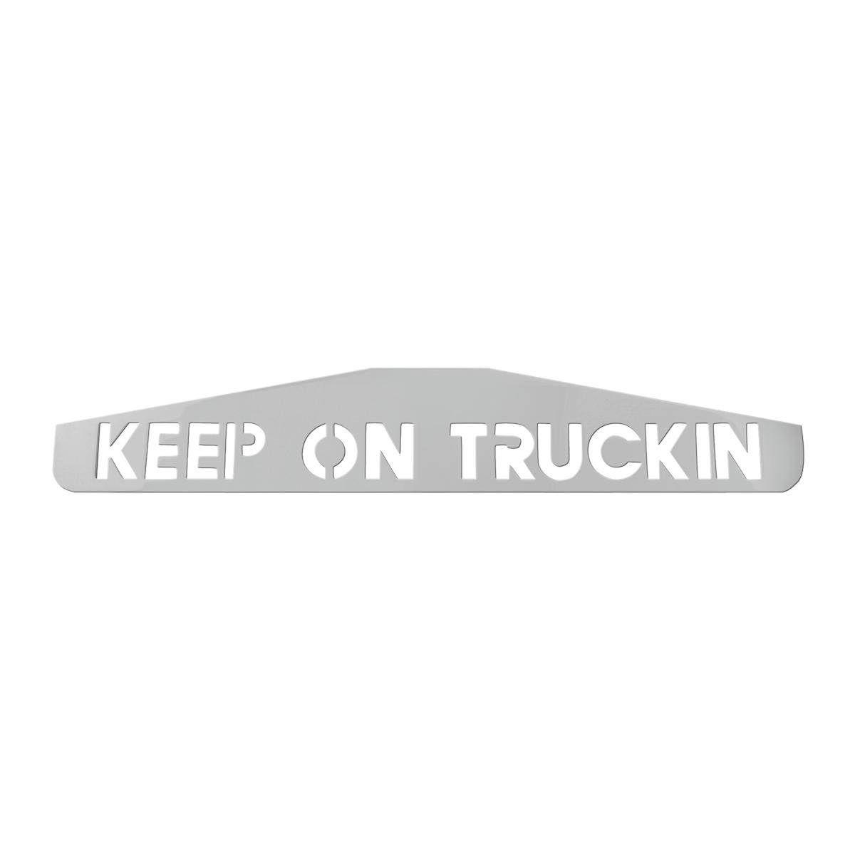 """KEEP ON TRUCKING"" Chrome Mud Flap Weights for Peterbilt & Kenworth, Pair"