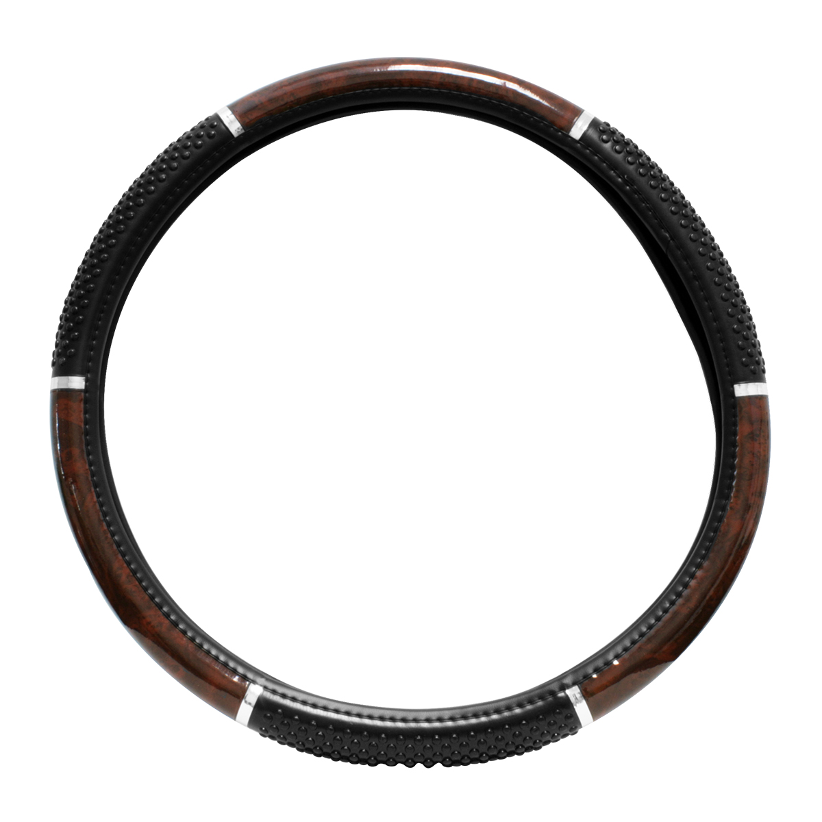 Steering Wheel Cover, Dark Wood with Black soft raised Vinyl Beads for Semi Truck, 18""