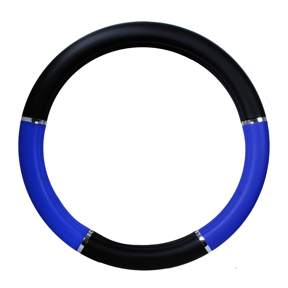 Steering Wheel Cover - Heavy Duty with Chrome Trim, Black and Blue, 18""