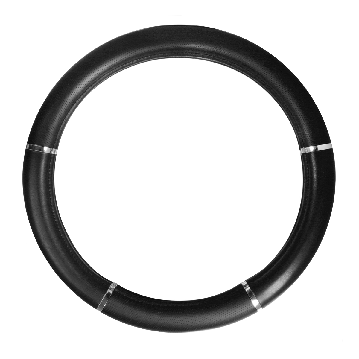 Steering Wheel Cover, Heavy Duty Black with Chrome Trim, 18""