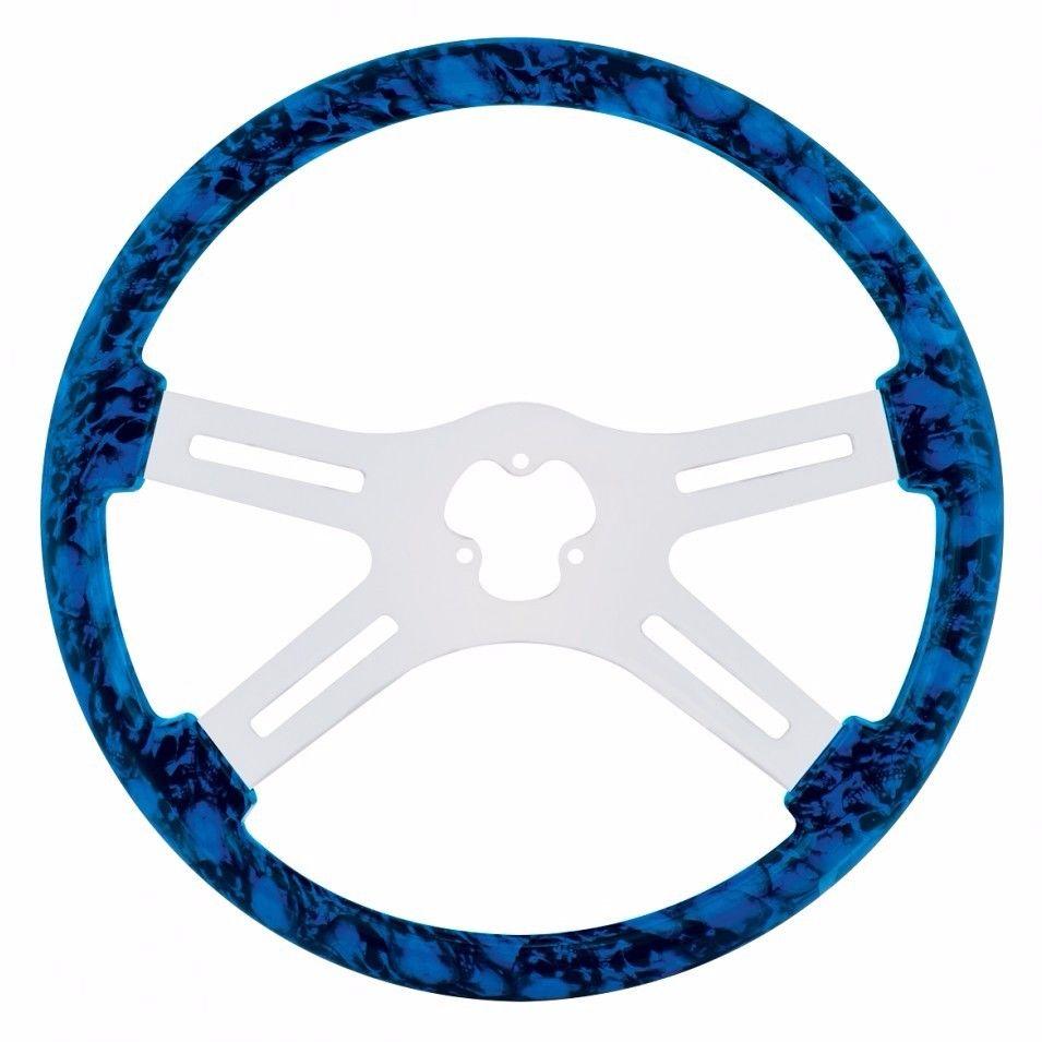 "18"" Skull Steering Wheel for Peterbilt, Kenworth, Freightliner, IHC, Blue"