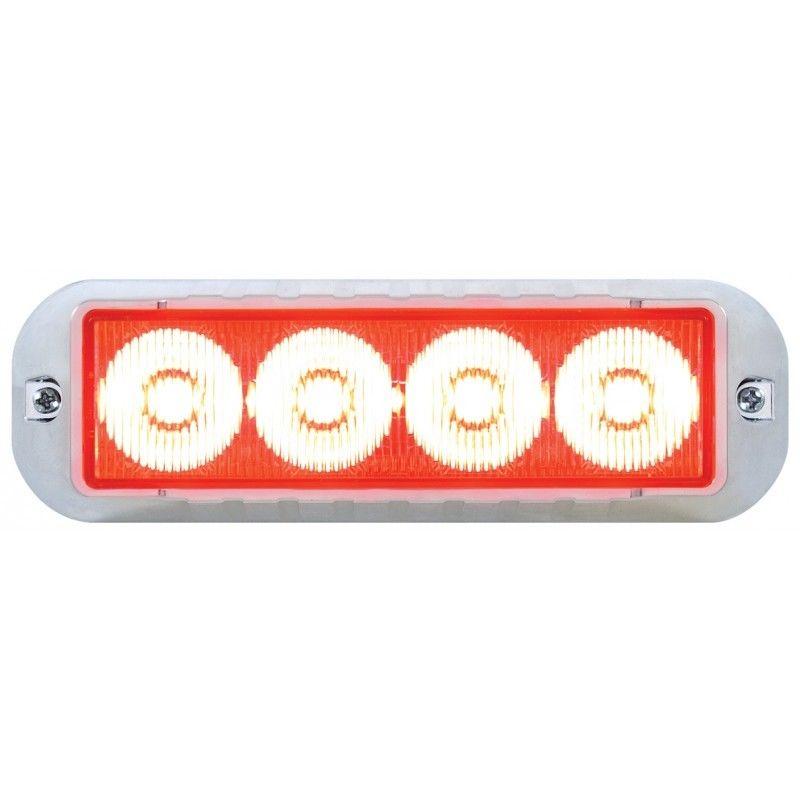 4 LED Warning Strobe Light, Red