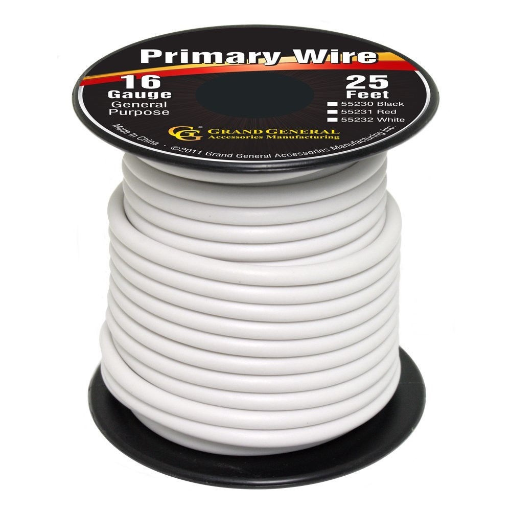 White 16-Gauge Primary Wire Roll of 25Ft