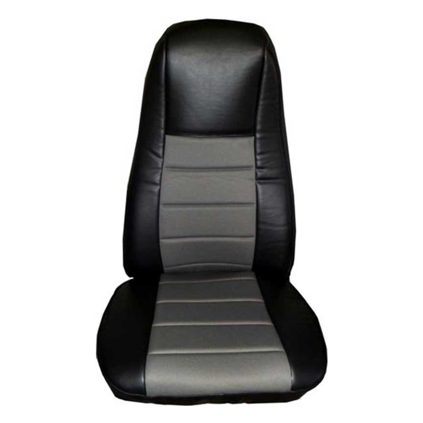 Black/Gray Leather Seat Cover with Pocket
