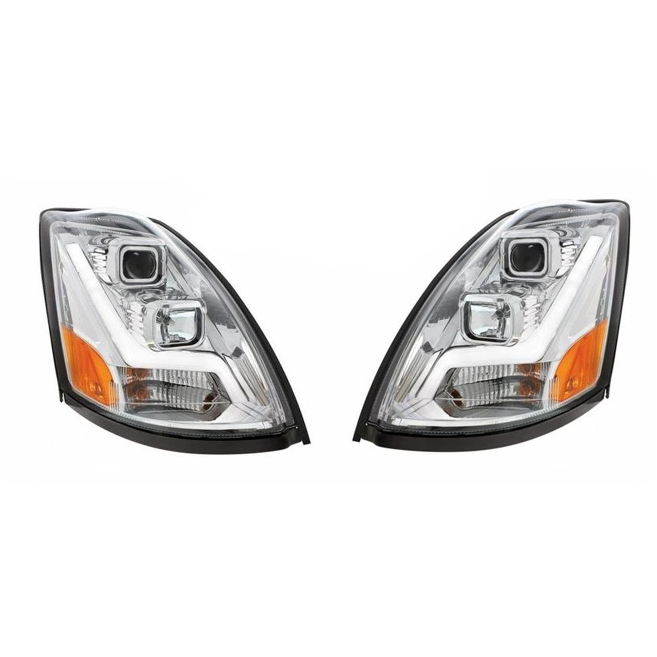 Volvo VN/VNL Projection Headlights with LED Position Light Bar, Chrome
