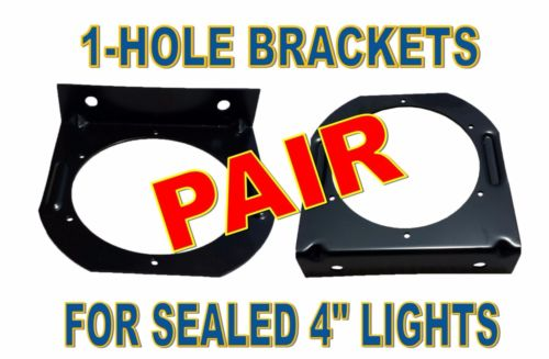 "Black L Mounting Brackets  with one Round Hole for 4"" Light (pair)"