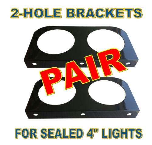 "Black L Mounting Brackets with 2 Round Holes for 4"" Lights (pair)"