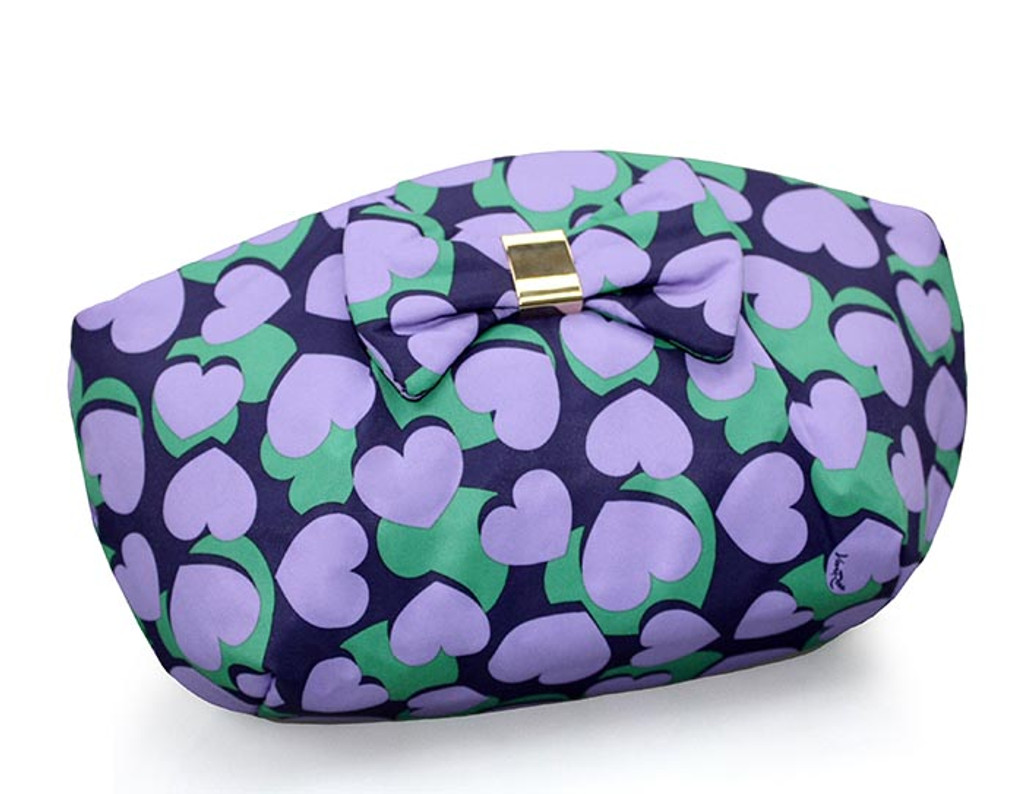 Bow Ribbon Pouch - Lavender Hearts