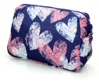 Daily Makeup Pouch - Dancing Hearts - Blue