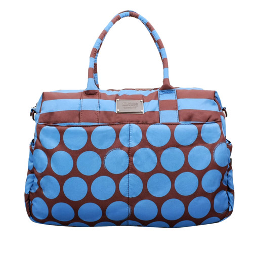 Boston Bag - Polka Dot - Chocolate/Blue