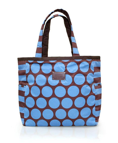 Reversible Tote - Polka Dot - Chocolate/Blue