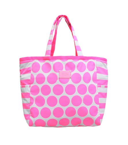 Reversible Tote - Polka Dot - Neon Pink/Grey