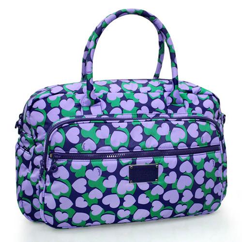 Travel Boston Bag - Lavender Hearts