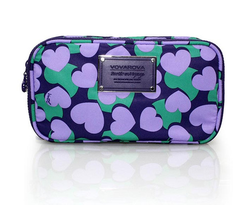Compact Brush Case - Lavender Hearts